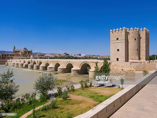 Spain, Andalusia, Cordoba, Puente Romano, Torre de la Calahorra with Mezquita-Catedral in the background