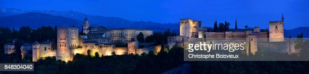Spain, Andalusia, Granada, World Heritage Site, The Alhambra and Sierra Nevada by night