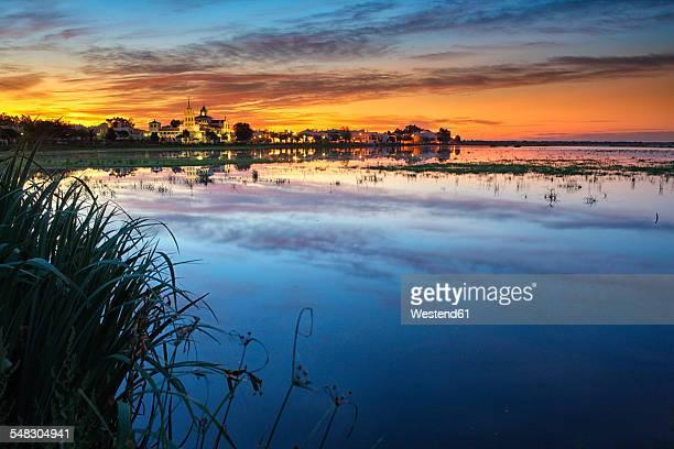 Spain, Andalusia, Huelva province, Donana National Park, El Rocio village at Guadalquivir river