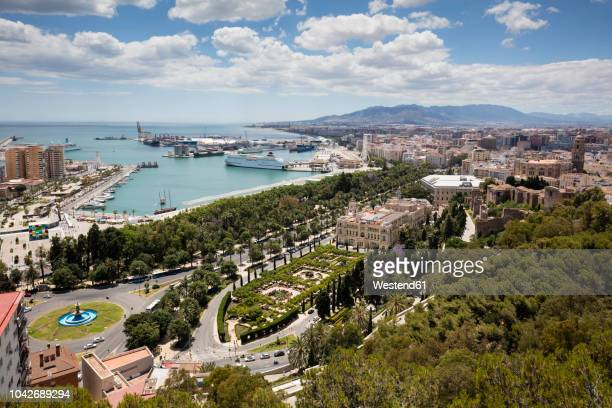 spain, andalusia, malaga, old town, townhall and harbour - málaga málaga province stock pictures, royalty-free photos & images
