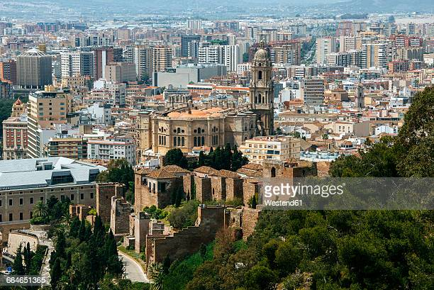 Spain, Andalusia, Malaga, Spain, Andalusia, Malaga, View of the city of Malaga, with the cathedral and the Alcazar