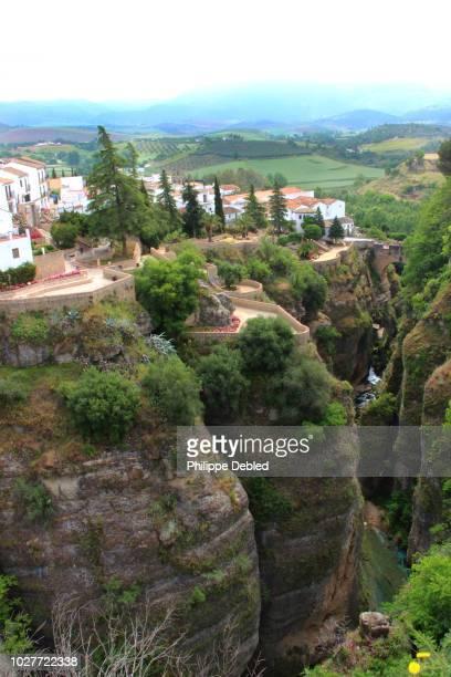 spain, andalusia, málaga province, ronda, el tajo gorge - málaga málaga province ストックフォトと画像