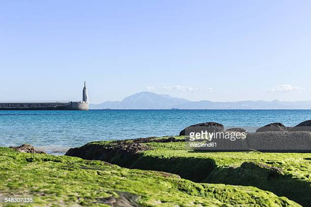 Spain, Andalusia, port entrance of Tarifa with view of Morocco