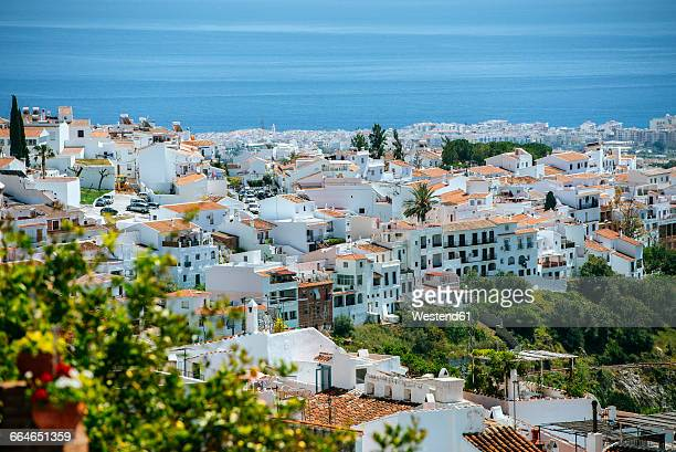 spain, andalusia, province of malaga, frigiliana, white town on the costa del sol - málaga málaga province stock pictures, royalty-free photos & images