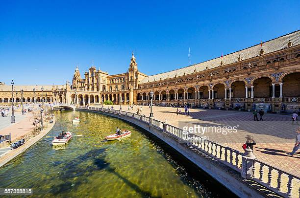 spain, andalusia, sevilla, plaza de espana - seville stock pictures, royalty-free photos & images