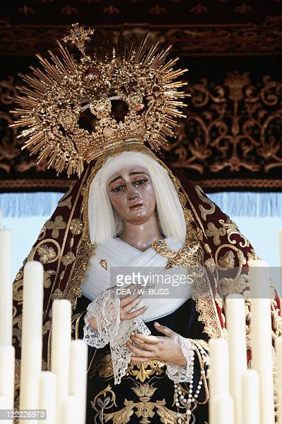 Spain Andalusia Seville Holy Week procession Detail of baldachin with the statue of the Madonna