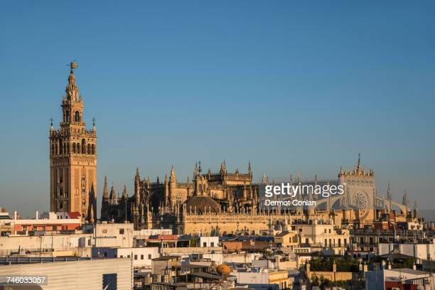 Spain, Andalusia, Seville, La Giralda, Cityscape with Seville Cathedral