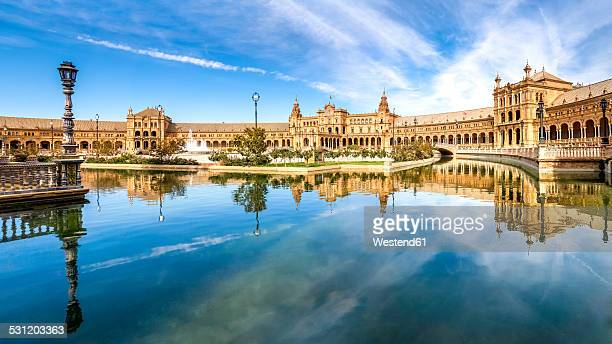 spain, andalusia, seville province, malaga, plaza de espana - seville stock pictures, royalty-free photos & images