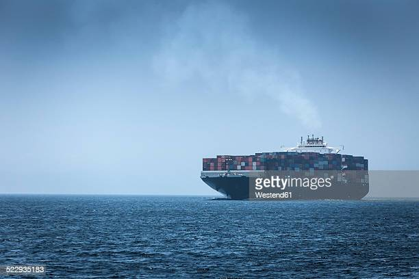 Spain, Andalusia, Tarifa, Cargo ship