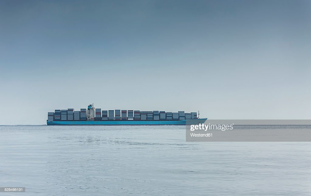 Spain, Andalusia, Tarifa, Strait of Gibraltar, Container ship : Stock Photo