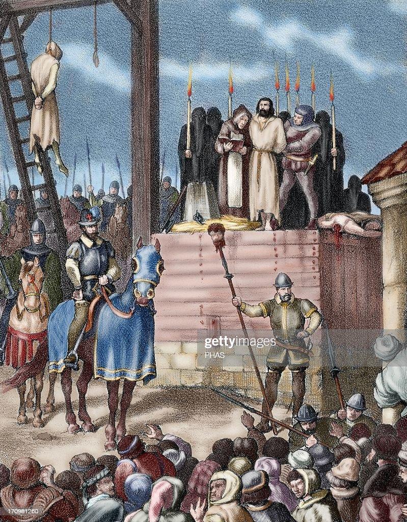 Spain. Aragon. Reign of Philip II. New tortures in Zaragoza during the occupation by Castilian troops. Colored engraving. : Fotografía de noticias