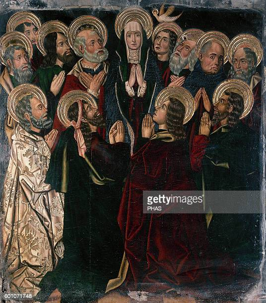 Spain Aragon Tarazona Altarpiece of chapel of the Purificacion 1493 Nuestra senora de la Huerta Cathedral Pentecost Descent of the Holy Spirit By...