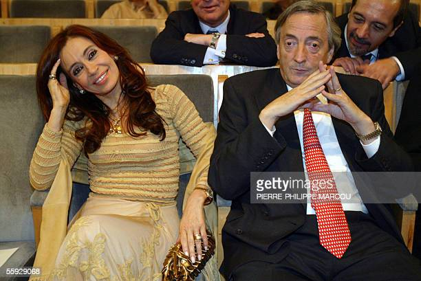 Argentine President Nestor Kirchner and his wife Cristina Fernandez attend the final press conference of the XV IberoAmerican Summit 15 October 2005...