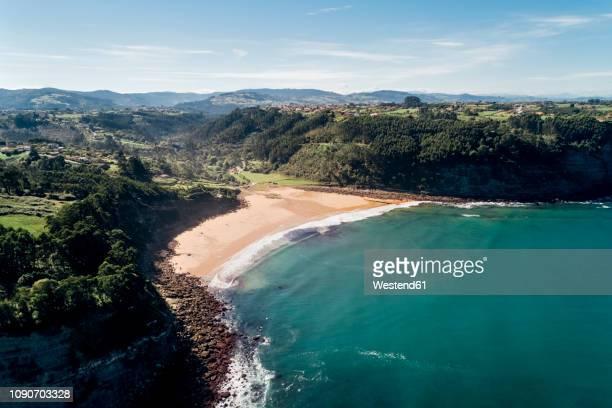 spain, asturias, aerial view of beach - principado de asturias fotografías e imágenes de stock