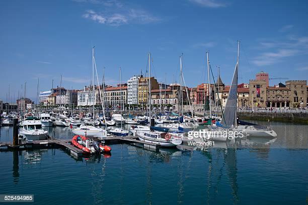 spain, asturias, gijon, puerto deportivo - gijon stock photos and pictures