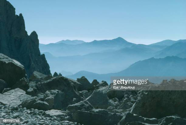 Spain Asturias Picos de Europa View over misty mountainous landscape