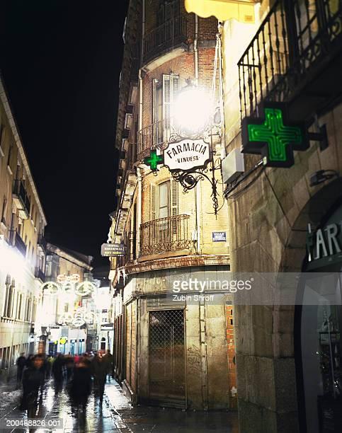Spain, Avila, people Christmas shopping, night