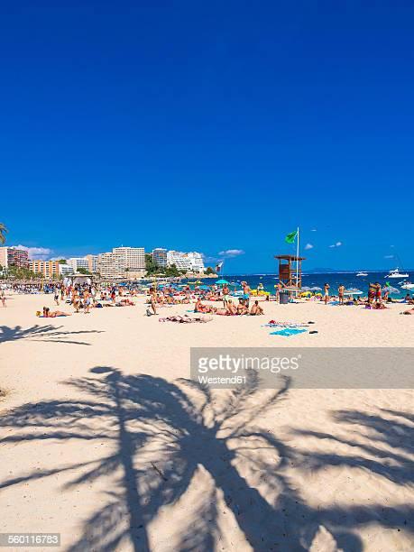 Spain, Baleares, Mallorca, Magaluf, view to bustling beach