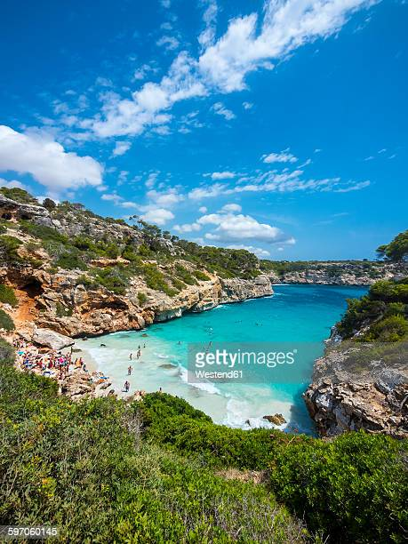 spain, baleares, mallorca, view of bay calo des moro - majorca stock pictures, royalty-free photos & images