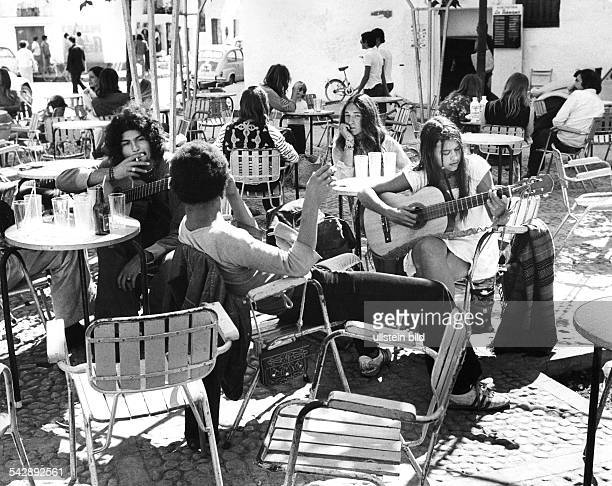 Spain Balearic Islands Ibiza hippies in a pavement cafe 1972