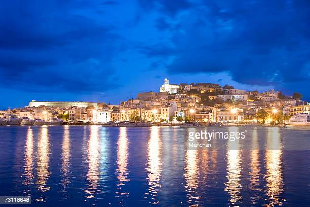 Spain, Balearic Islands, Ibiza, old town at sunset