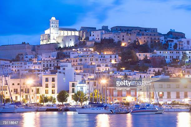 spain, balearic islands, ibiza, old town from harbour - ibiza island stock pictures, royalty-free photos & images