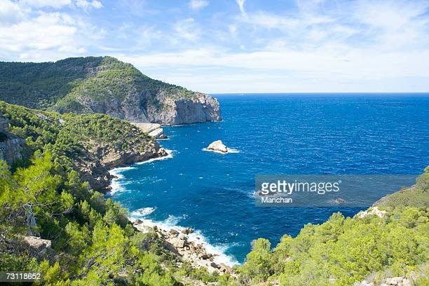 spain, balearic islands, ibiza, rugged coastline - balearic islands stock pictures, royalty-free photos & images