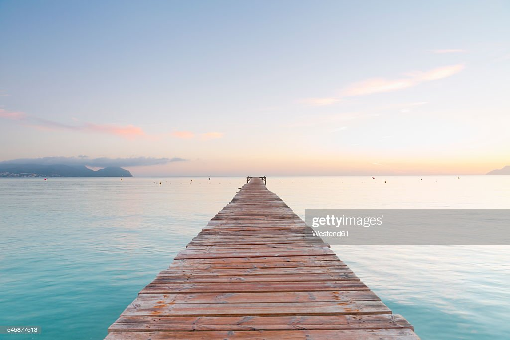 Spain, Balearic Islands, Majorca, jetty leads out to the sea : Stock Photo