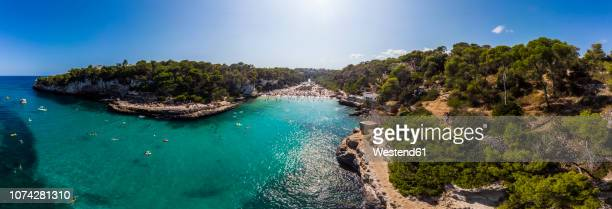 spain, balearic islands, mallorca, aerial view of cala llombards - balearic islands stock pictures, royalty-free photos & images