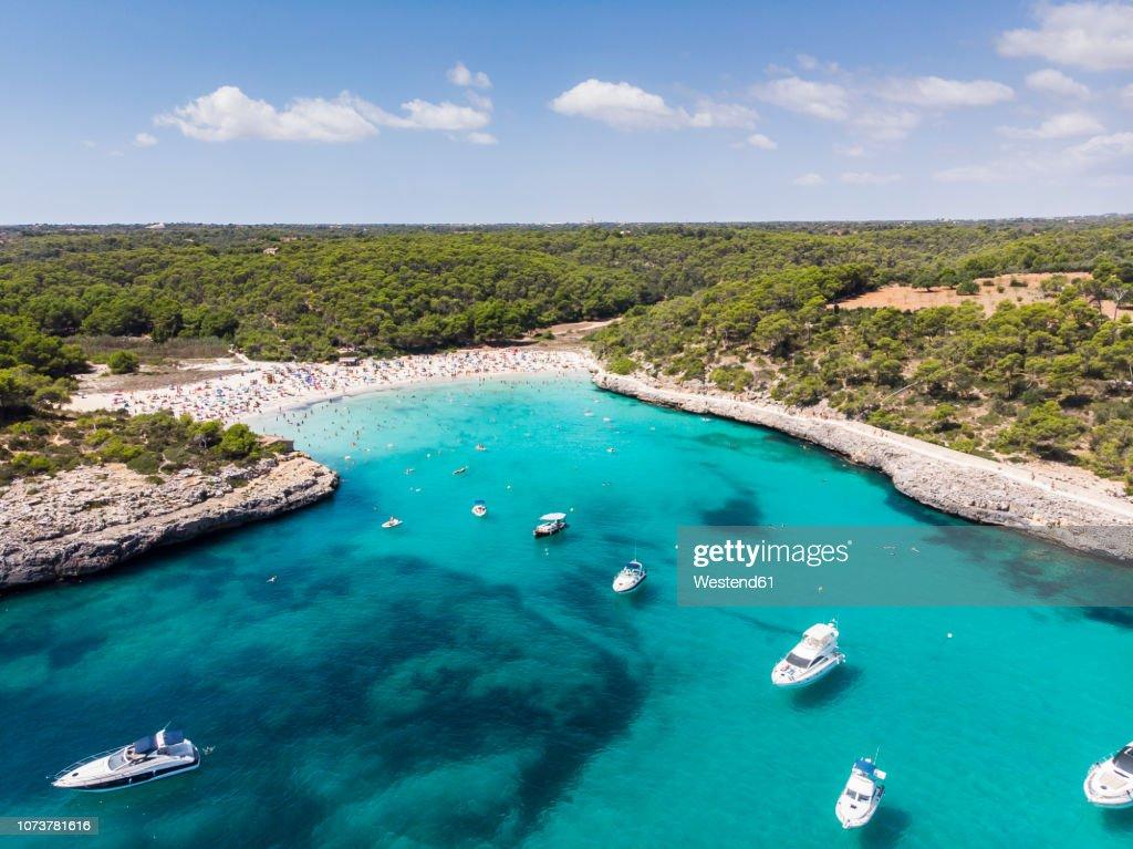 spain, Balearic Islands, Mallorca, Aerial view of Cala Mondrago and Playa Mondrago, Mandrago Nature Park : Stock Photo