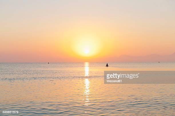 Spain, Balearic Islands, Mallorca, Cala de Muro, man in the water