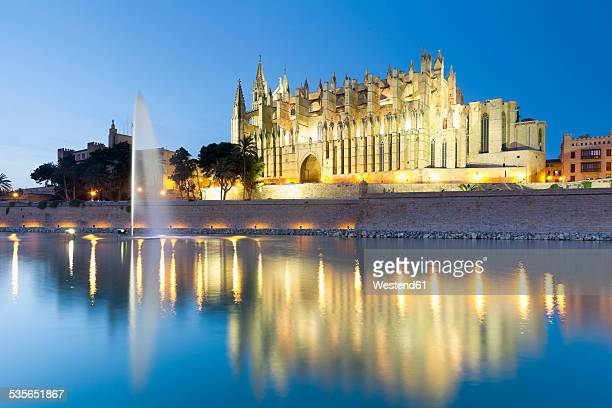 spain, balearic islands, mallorca, palma de mallorca, la seu cathedral in the evening light - palma majorca stock photos and pictures