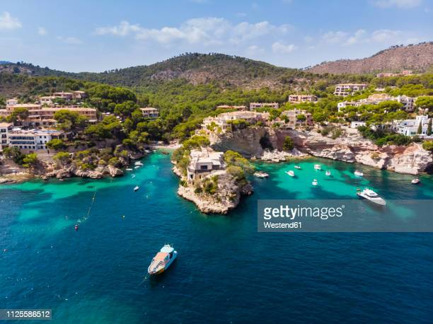 spain, balearic islands, mallorca, region calvia, costa de la calma, peguera, cala fornells, coast and nature harbour - majorca stock pictures, royalty-free photos & images