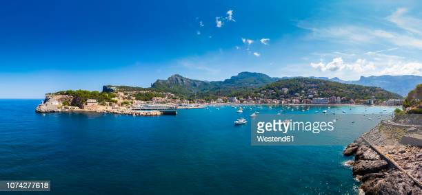 spain, balearic islands, mallorca, serra de tramuntana, port de soller, panoramic view - balearic islands stock pictures, royalty-free photos & images