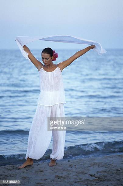Spain Balearics Balearic Islands Ibiza Hippie girl at the beach 1978