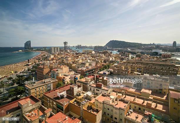 spain, barcelona, aerial view of la barceloneta - la barceloneta stock pictures, royalty-free photos & images
