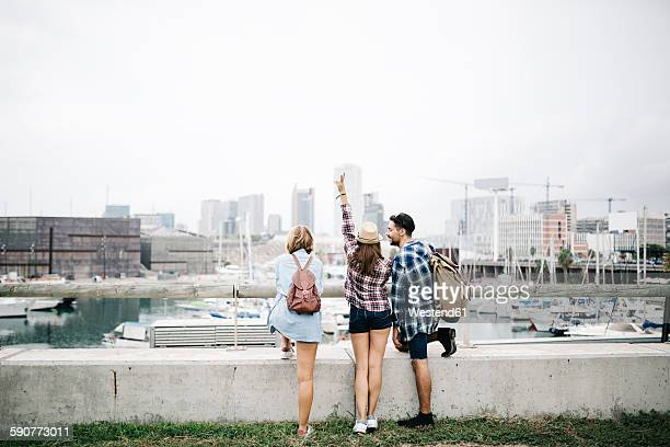 Spain, Barcelona, back view of three friends looking at the city