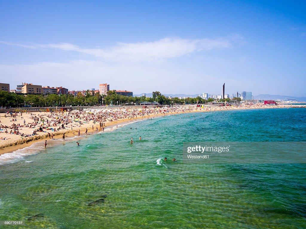 Spain Barcelona Beach At Port Olimpic Platja De Barceloneta Stock Photo
