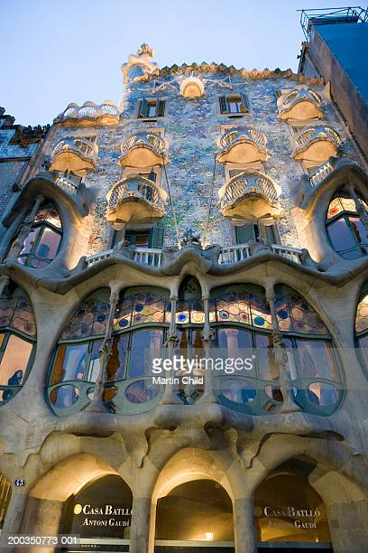 Spain, Barcelona, Casa Batllo, facade, low angle view