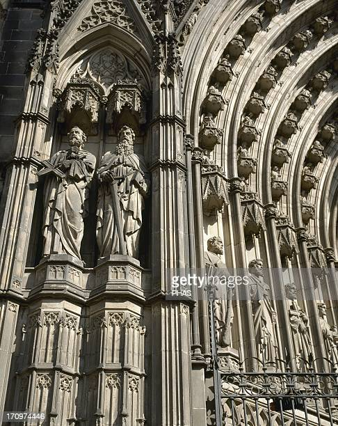 Spain Barcelona Cathedral Archivolts Detail The facade was finally finished in the early 20th century by the architects Josep Oriol Mestres and...