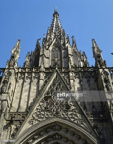 Spain Barcelona Cathedral Facade was built between 18851915 by the architects Josep Oriol Mestres and August Font i Carreras Neogothic style
