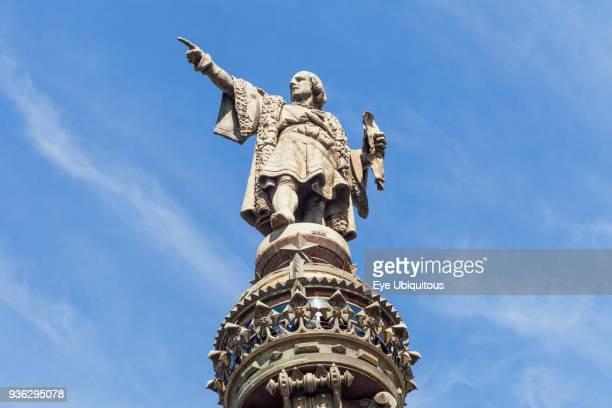 Spain Barcelona Christopher Columbus Monument Christopher Columbus statue detail La Rambla