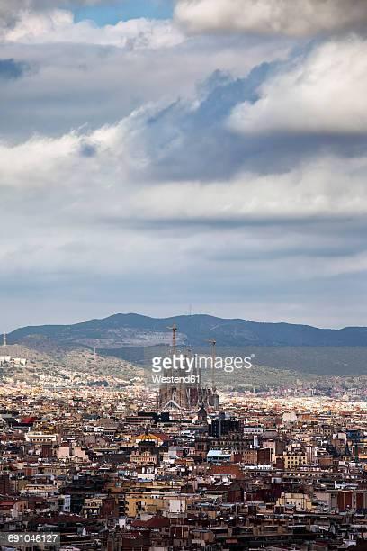 Spain, Barcelona, cityscape from Palau Nacional to Sagrada Familia
