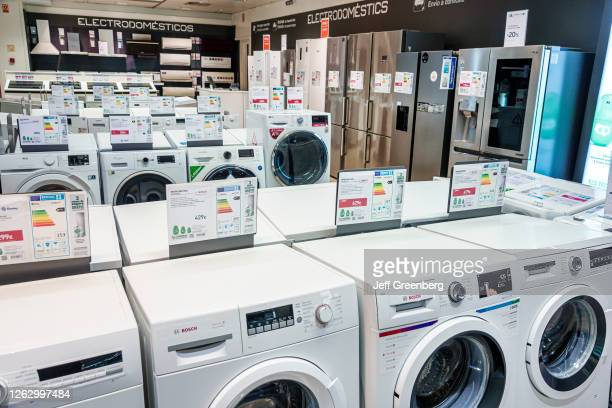 Spain, Barcelona, El Corte Ingle, department store appliances, washers, dryers and refrigerators.