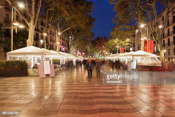Spain, Barcelona, La Rambla at night
