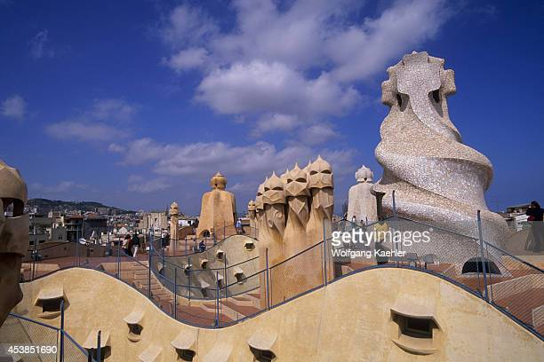 Spain Barcelona Mila House 'la Pedrera' Roof Chimney And Ventilation Shafts