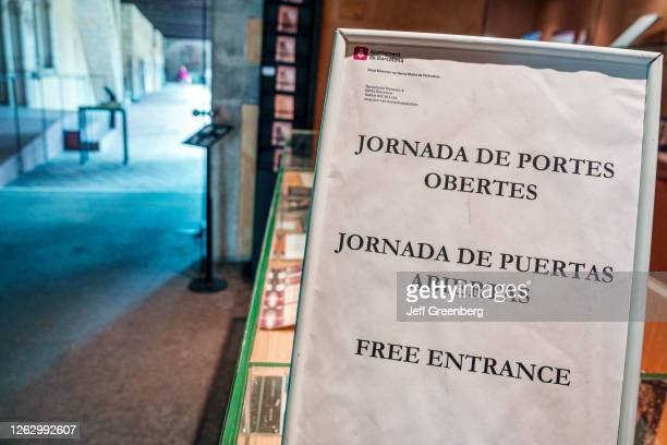 Spain Barcelona Monastery of Pedralbes museum free admission bilingual entrance sign