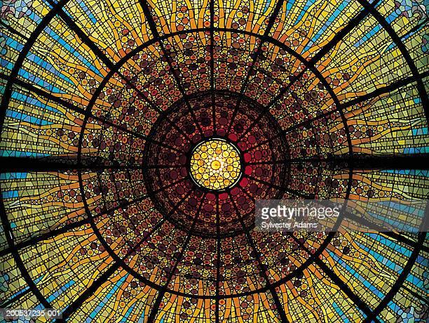 Spain, Barcelona, Palau de la Musica Catalana, glass ceiling
