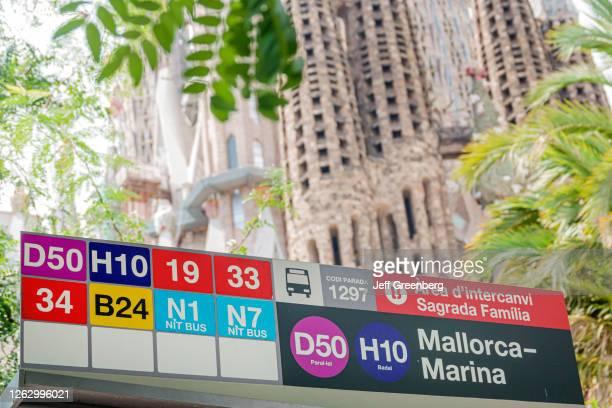 Spain, Barcelona, Sagrada Familia, Mallorca Marina bus stop, shelter with routes.