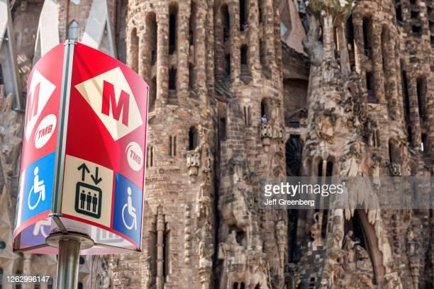 Spain, Barcelona, Sagrada Familia, metro station, disabled access sign.